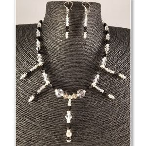 Black and Clear Swarovski and Sterling Silver Set